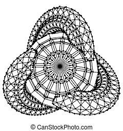 wireframe, concept., objet, arrière-plan., blanc, polygonal, points, résumé, connected., numérique, lignes, forme, géométrique, 3d