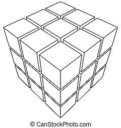 wireframe, contorno, maglia, cube.
