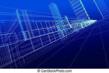wireframe, de, edificios de oficinas