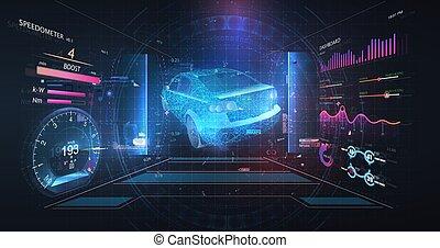 wireframe, données, hud, auto, concept., virtuel, style, ligne., futuriste, poly, diagnostic, analysis., bas, service, balayage, style., tableau bord, hud, voiture, ui, hologramme