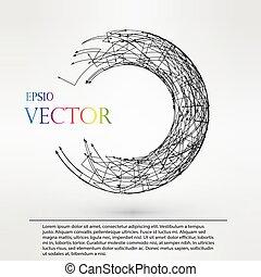 wireframe, dots., torus, eps10., lignes, illustration, polygonal, vecteur, connecté, logo, element.