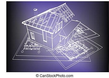 wireframe, edificio, encima, cianotipo