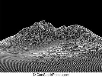 wireframe, fond, 3004, paysage abstrait
