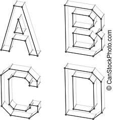 wireframe font alphabet letters A B C D