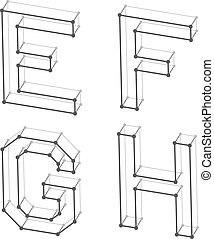 wireframe font alphabet letters E F G H