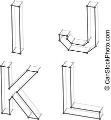 wireframe font alphabet letters I J K L