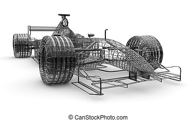 Wireframe formula 1 car - A wireframe formula 1 car on a...