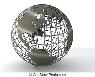 Wireframe globe - 3D wireframe earthglobe showing mainly ...