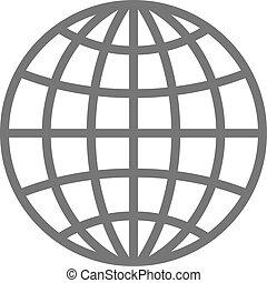 Wireframe globe icon - planet symbol