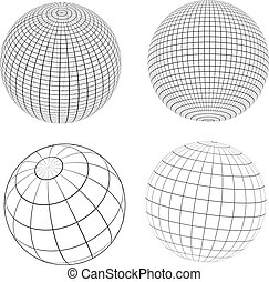 Wireframe globes - Various designs of wireframe globes
