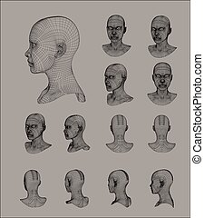 Wireframe head 3d model vector illustration