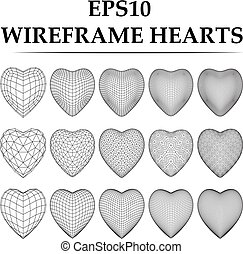 Wireframe heart set. - wireframe heart set. Three type heart...