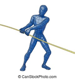 Wireframe human figure pulling a rope