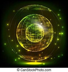 wireframe, illustration., grid., globe global, -, connection., résumé, réseaux, sphère, incandescent, lines., grille, numérique, consister, 3d, technologie, style., triangles, design.