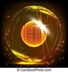 wireframe, illustration., grid., globe global, -, résumé, style., sphère, incandescent, connections., grille, points., numérique, 3d, technologie, réseaux, consister, design.