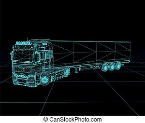 wireframe, illustration., vektor, lastwagen, perspektive,...