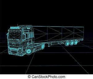wireframe, illustration., vettore, camion, prospettiva,...