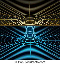 wireframe, jelkép, -, wormhole