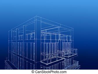 wireframe, közül, kortárs, 3-story, épület, letölt, egy, comp, megment, t