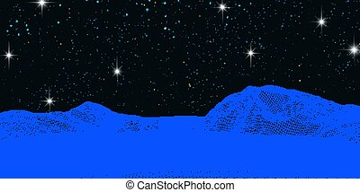 wireframe landscape against a starry night sky 2204