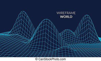 Wireframe Landscape Background. Futuristic Landscape with...