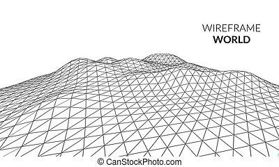 Wireframe Landscape Mountain Background. Futuristic...