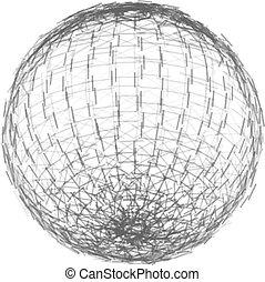 wireframe, lines., polygonal, sfera, vettore, illustrazione, element., maglia
