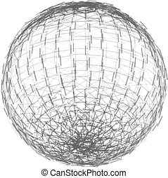 wireframe, lines., polygonal, sphère, vecteur, illustration, element., maille