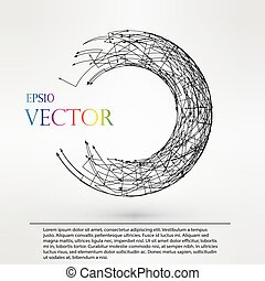 Wireframe logo polygonal element. Torus with connected lines and dots. Vector Illustration EPS10.