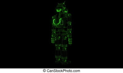 Wireframe luminous cyberpunk robot in X-rays. 3d model grid...