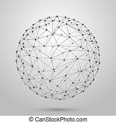 wireframe, maglia, polygonal, sfera, vettore, 3d