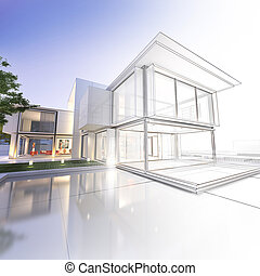 Wireframe mansion - 3D rendering of a luxurious villa with ...