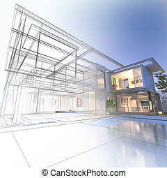 Wireframe mansion - 3D rendering of a luxurious villa with...