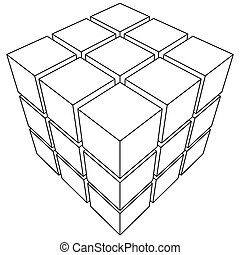 Wireframe mesh outline cube. Vector Illustration EPS10.