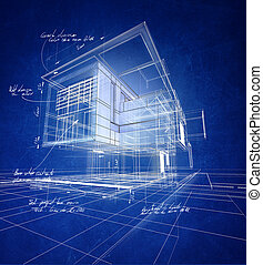 Wireframe modern construction - Technical 3D wireframe ...