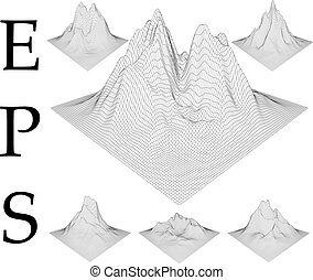 wireframe, montañas, set.