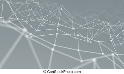 Wireframe network shape vibrate loop background - Wireframe...