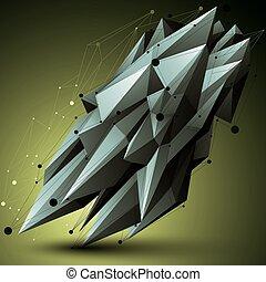 wireframe, object., formułować, polygonal, przestrzenny, techniczny, kontrast