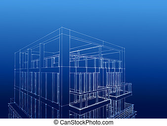 wireframe of contemporary 3-story house