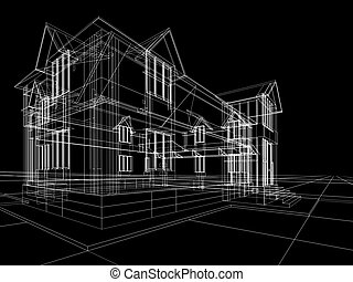 wireframe of cottage - 3D rendering wire-frame of house....
