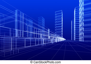 wireframe of offices - 3D rendering wireframe of office...