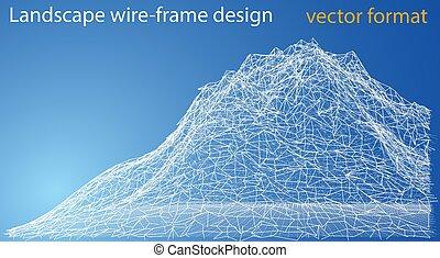 Wireframe polygonal landscape. Vector Illustration