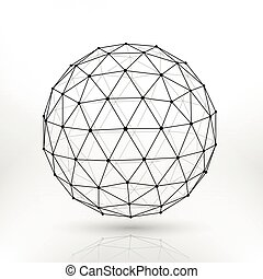 Wireframe polygonal vector sphere, network lines abstract fractal design