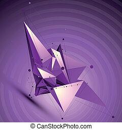 wireframe, purpurowy, techniczny, obiekt, formułować, polygonal, p, przestrzenny