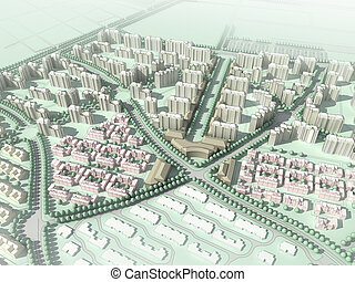 wireframe residential community - computer generated aerial...