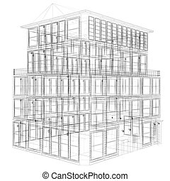 wireframe seven storey building - Perspective view of...