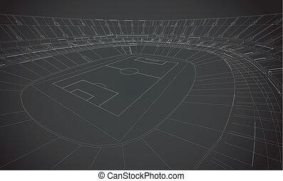 wireframe, stadio, 3d