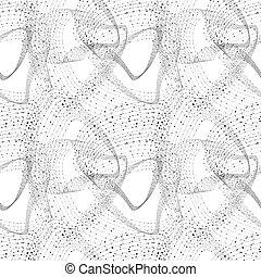 wireframe, teknologi, pricken, mönster, seamless, abstrakt, sammanhängande, nätverksarbetande, bakgrund, teckning, concept., vektor, swirles