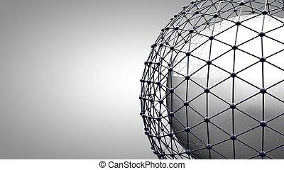 wireframe, verbinden, sphere., anschluss, linien, ungefähr, erde, globe., der, begriff, von, sozial, vernetzung, erdball, connection.