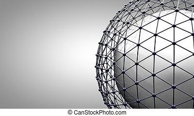 wireframe, verbinden, sphere.